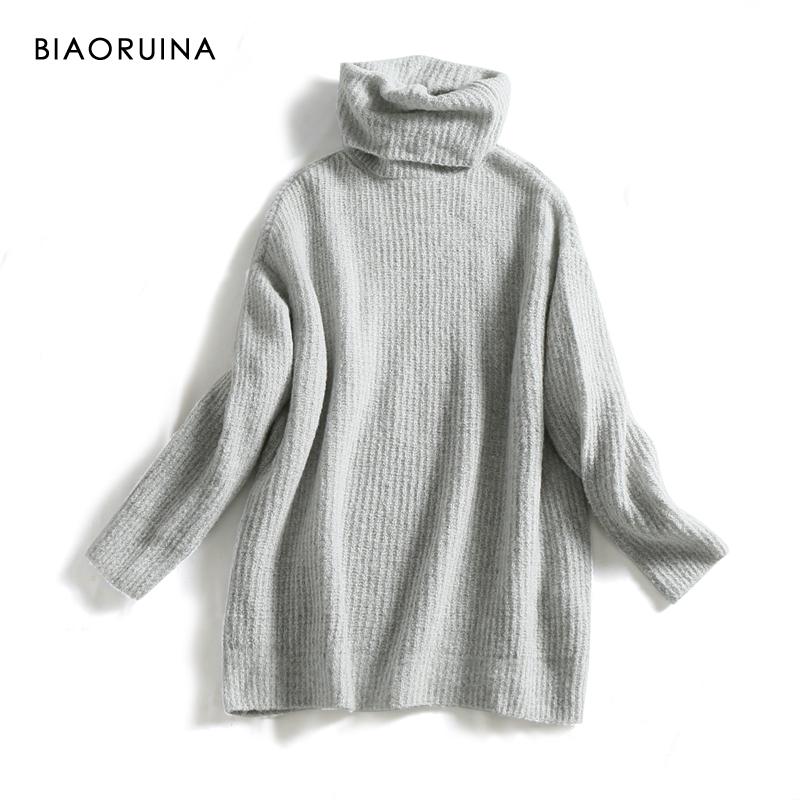 REJINAPYO 15 Color Women Fashion Solid Casual Knitted Sweater Female Turtleneck Oversized Pullover Ladies Elegant Loose Sweater 5