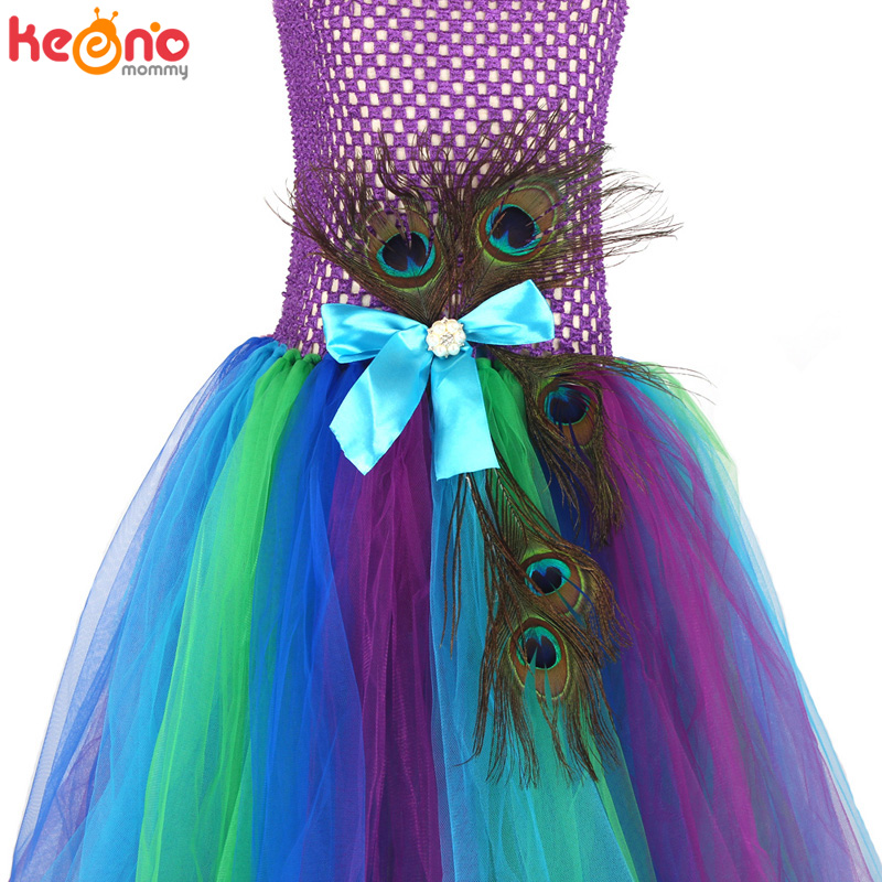 High-end Girls Peacock Princess Tutu Dress with Mask Flower Feathers Girl Ball Gown Dresses Tulle Kids Party Pageant Costume 6