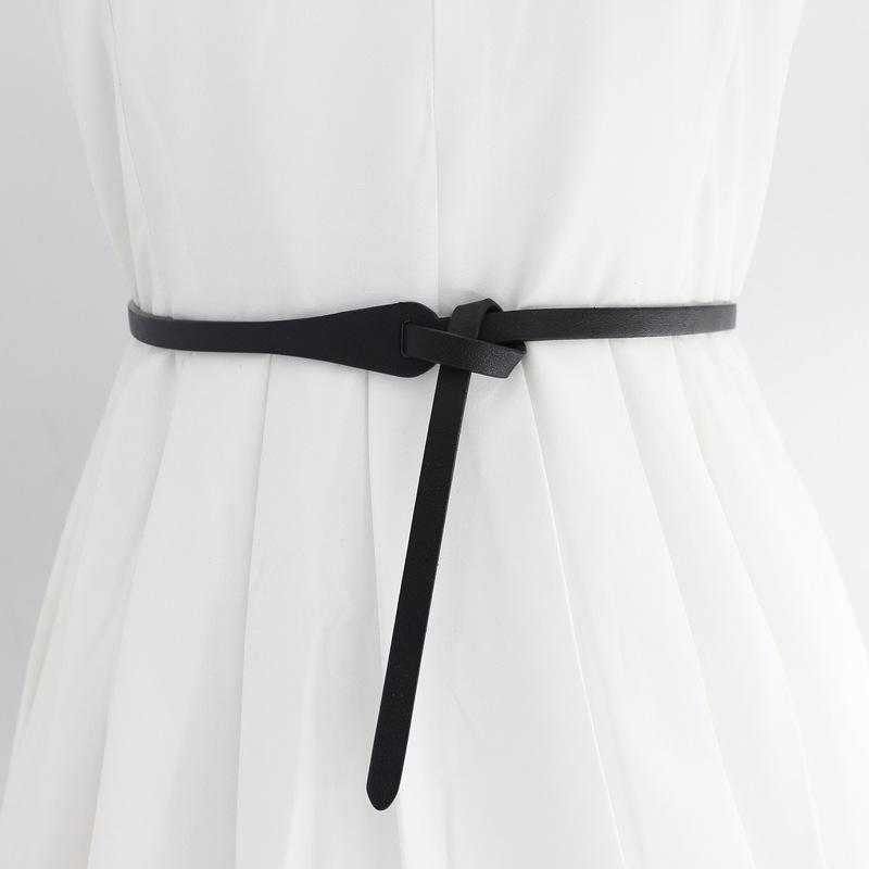 New Candy Color Shiny PU Leather Waist Belt For Women Narrow Thin Belts Waistband Knot Straps For Dress Party Belt Skirt Belt