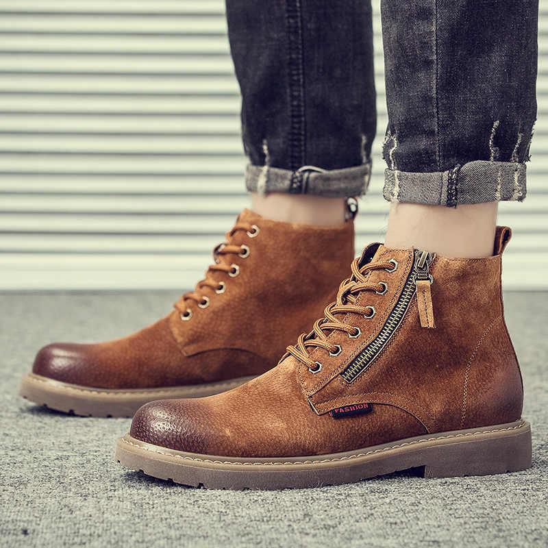 Erkek moda domuz deri botları açık havada kovboy takım ayakkabı platformu yıkılmaz ayak bileği çöl çizme zapatos de hombre botas