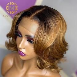 1b/27 медовые светлые кружевные передние парики, волнистый парик с эффектом омбре, человеческие волосы, предварительно выщипанные цветные пе...