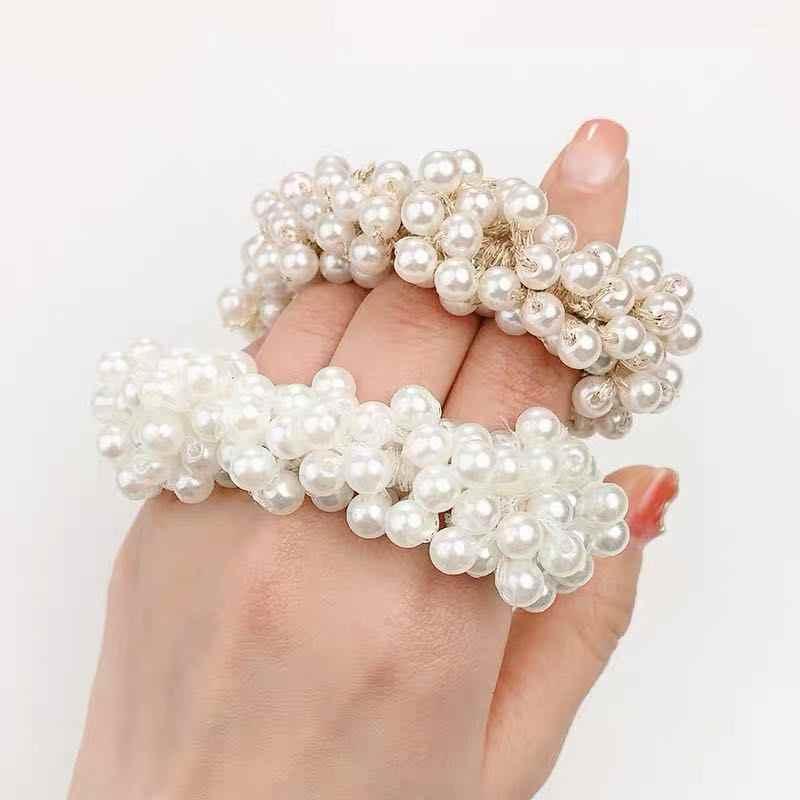 """1 шт. модные жемчужные кольца для волос для девочек Бусины """"галстук"""" эластичные резинки для волос корейские резинки для волос"""