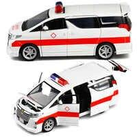 1:32 hohe Simulation Krankenwagen Krankenhaus Rettungs Metall Autos Modell Pull Zurück Mit Sound und Licht Legierung Diecast Auto Spielzeug V243