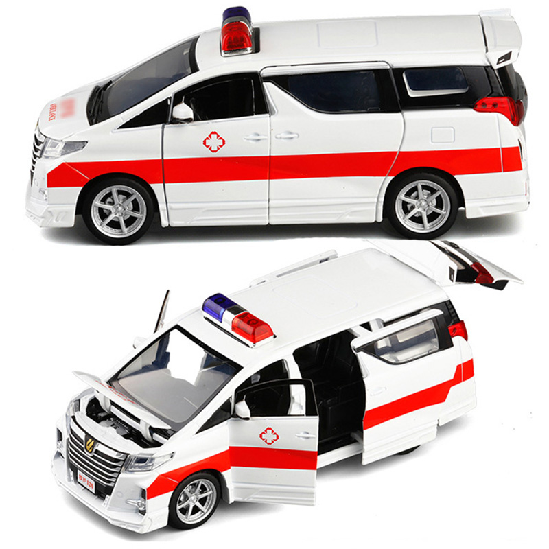 1:32 High Simulation Ambulance  Hospital Rescue Metal Cars Model Pull Back With Sound And Light Alloy Diecast Car Toys V243