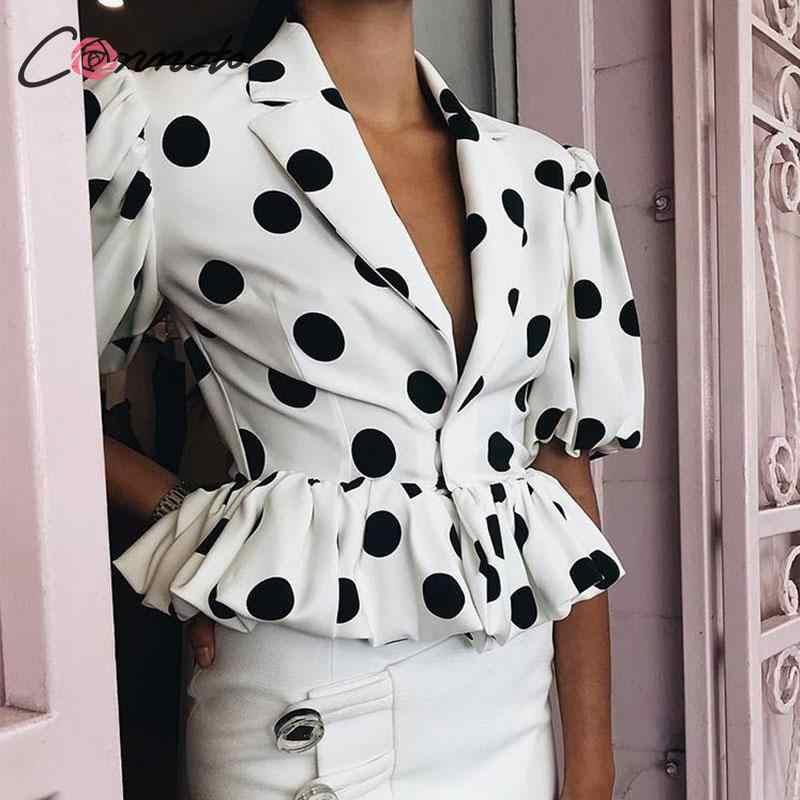 Conmoto נשים אופנה מנוקדת V צוואר יבול חולצות וחולצה נקבה לנטרן שרוול Slim קצר חולצה רטרו לפרוע Blusa בתוספת גודל