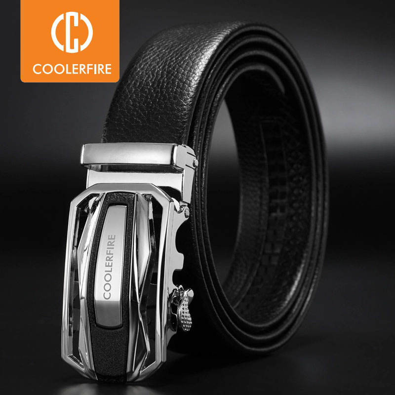 "2019 New Luxury Man Belt Automatic Buckle Genuine Leather Black Belts For Men Designer Male Belts strap 3.4mm 1.35"" ZD092