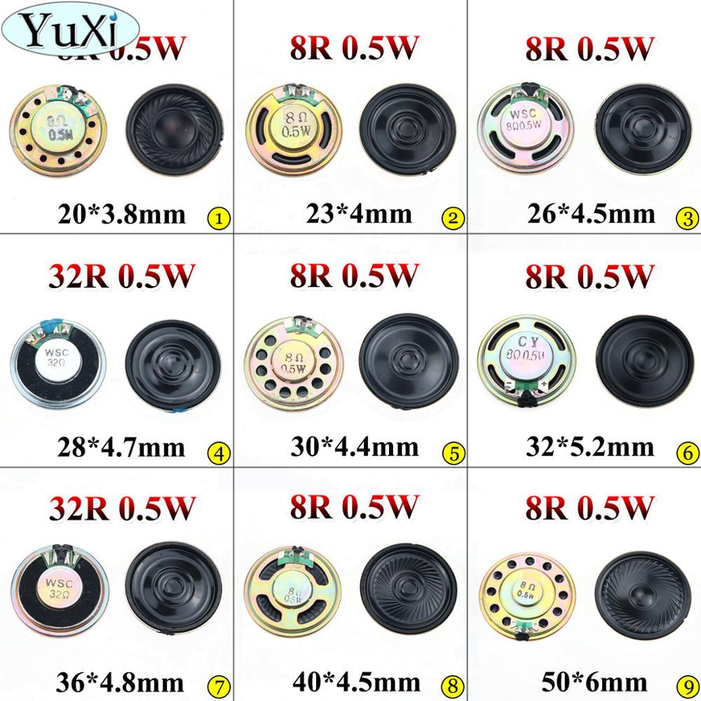 YuXi 0.5W 8R 32R Speaker 8 Ohm Horn Speaker Diameter 20mm 23mm 26mm 28mm 30mm 32mm 36mm 40mm 50mm 4CM Loudspeaker Loud Speaker