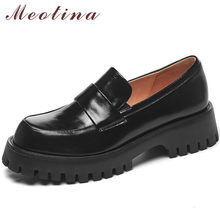 Meotina الجلد الحقيقي ميد الكعوب أحذية خفيفة بدون كعب المرأة منصة صندل بكعب مكتنز فستان مضخات جولة تو الإناث الأحذية أسود كبير الحجم 40
