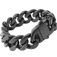 High Quality 316 Stainless Steel Italy Vintage Black Bracelet Bangle Men's Heavy Chunky Link Chain Bracelet Fashion Jewelry Gift