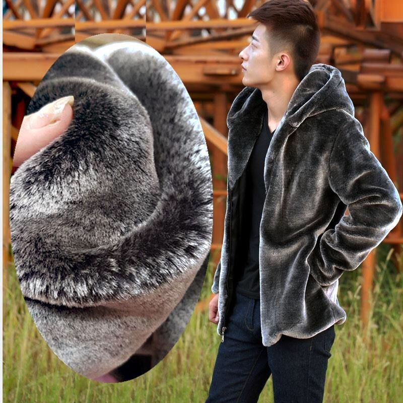 Autumn Winter Mens Faux Fur Mink Coat Short Grey Hooded Coat Plush Fluffy Coat Male Plus Size Xxxl 4xl 5xl Warm Overcoat Men