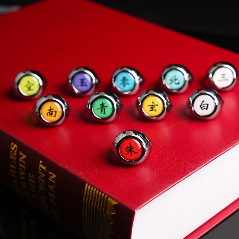 1Pcs Japan Naruto Anime Akatsuki Rings Naruto Rings Akatsuki Member's Cosplay Rings Naruto Keychain Itachi Zhu Ring Model Gifts