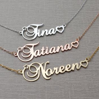 Personalized Name Necklace Customized Name Necklace Custom Nameplate Pendant  Jewelry Necklace with Name Birthday Gift for her sideway customised double nameplate necklace personalized two name pendants jewelry family name bar necklace christmas gift