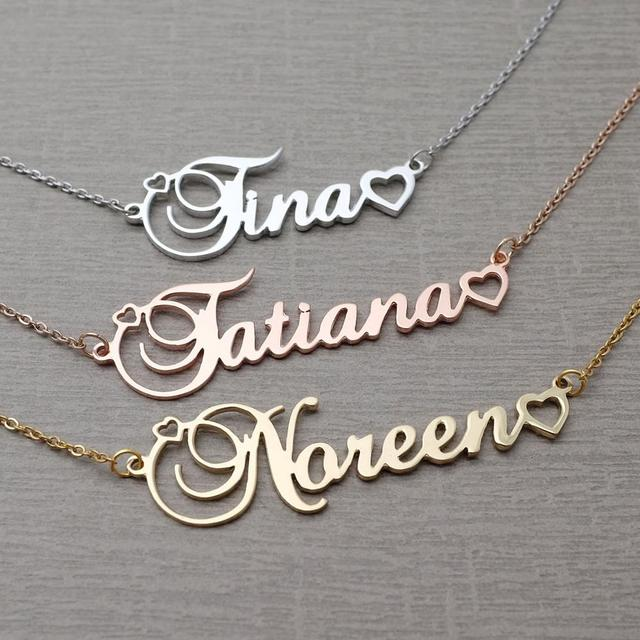 Personalized Name Pendant Necklace Customized Cursive Nameplate Necklace Custom Name Jewelry Any Name Charm Birthday Gift
