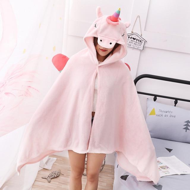 Unicorn Fleece Blanket Hooded Blanket Bed Sofa TV Throw Blankets Cartoon Hoodie Blanket Sweatshirt Christmas Gift for Children 1