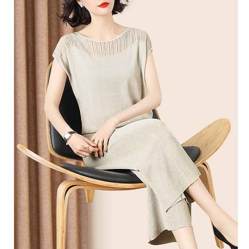 Ozhouzhan Loose Pants WOMEN'S Suit 2019 Spring And Summer New Style Fashion Casual Hollow Out T-shirt Two-Piece Set-
