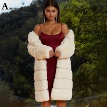 цена на Plus Size 3XL 4XL Female Faux Fur Coat cotton padded Long Section Solid White Loose Plush Coat Faux Fur Winter Women Warm Jacket