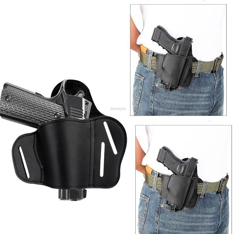 Funda Universal de cuero para cinturón de pistola, funda táctica oculta para Beretta Glock 17 19 22 23 M & P