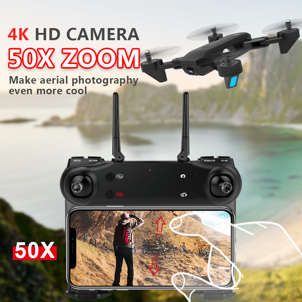 Best WIFI FPV Drone With 4K 1080P Wide Angle HD Camera 50x zoom Hight Hold Mode Fly 20Mins RC Foldable Quadcopter Dron