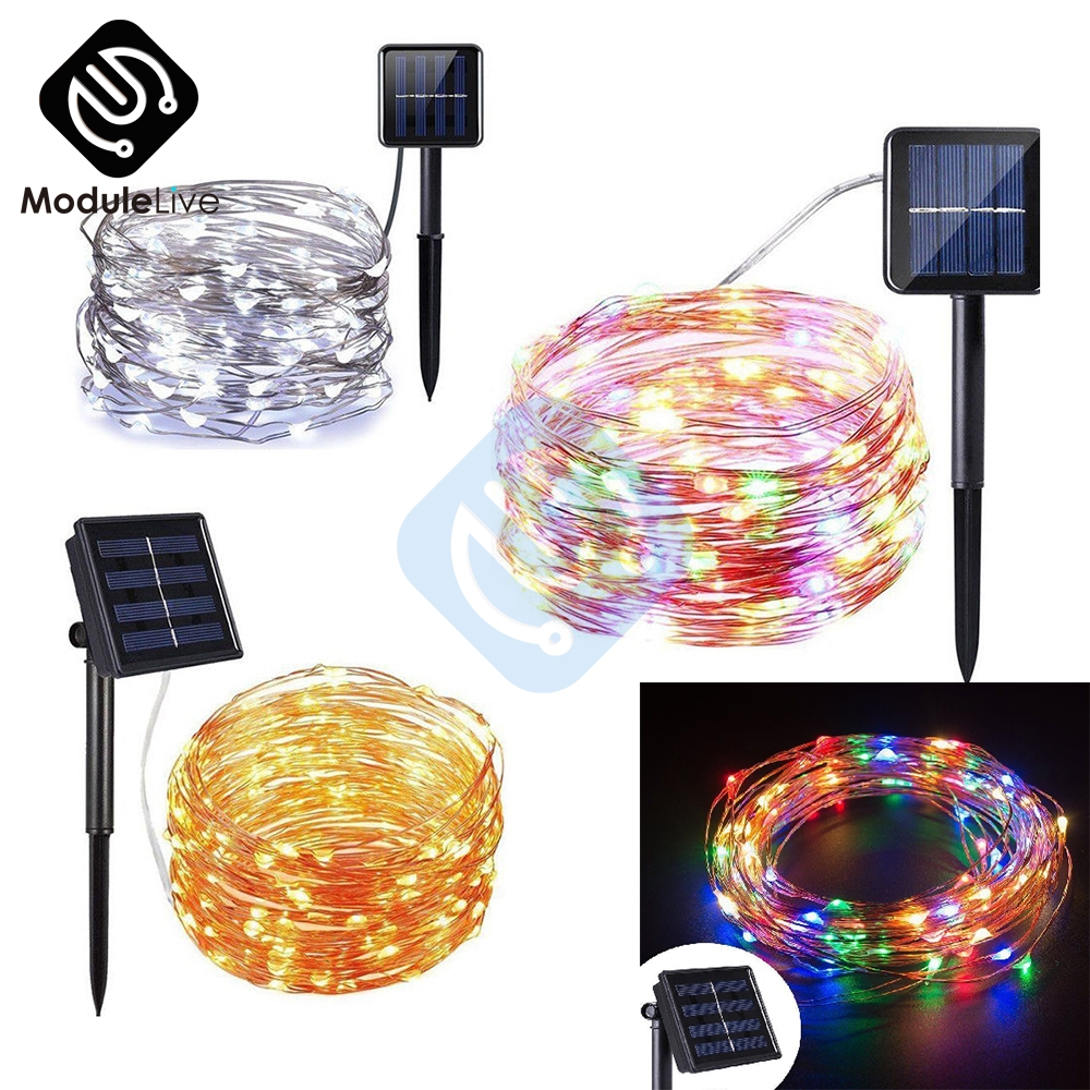 Led Strip Solar Power 33Ft 100 LED 10M Copper Wire Light String Warm White RGB Waterproof Safe Use Fairy Xmas Party Atmosphere