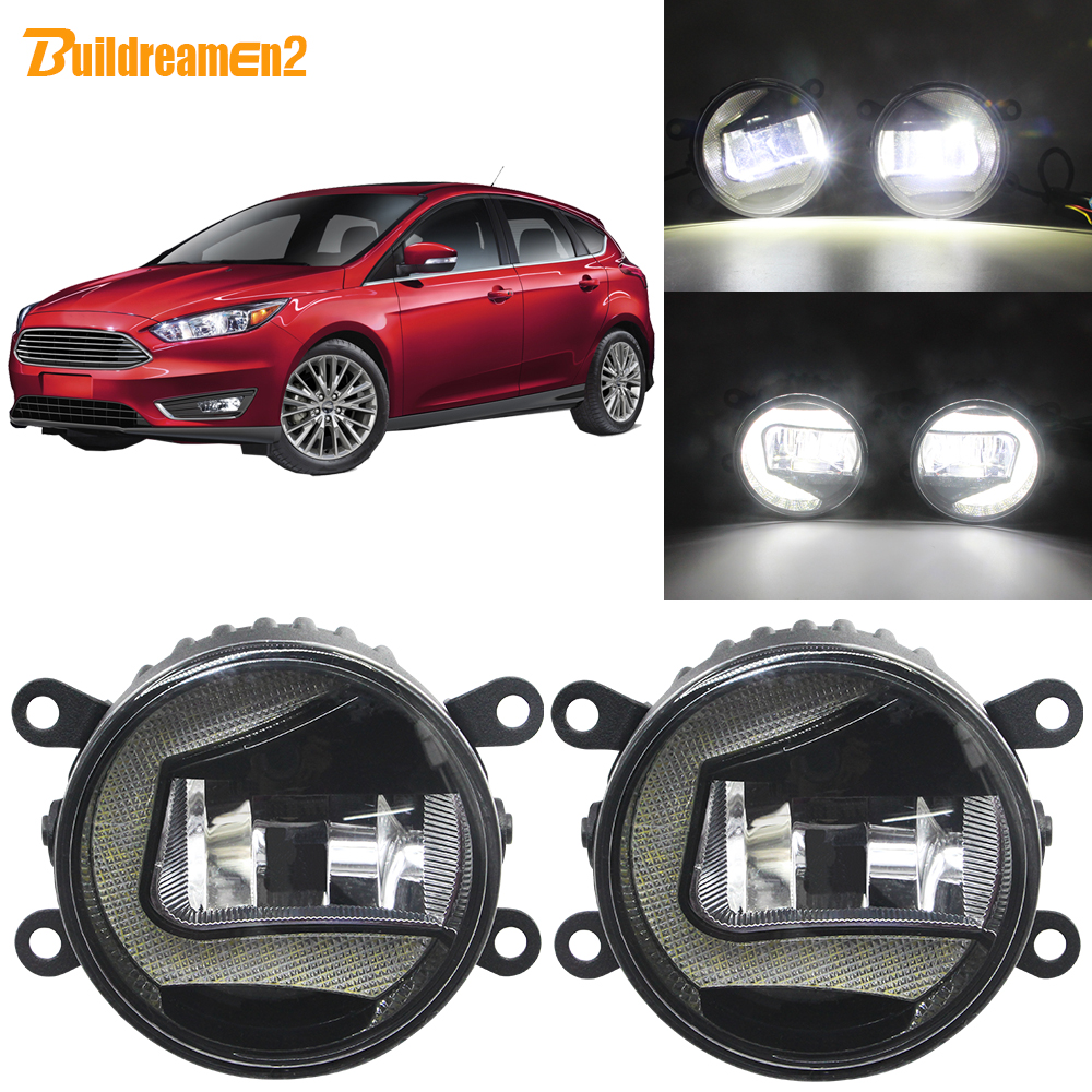 Buildreamen2 Car Accessories LED Projector Fog <font><b>Light</b></font> + Daytime Running Lamp DRL White H11 12V For <font><b>Ford</b></font> <font><b>Focus</b></font> MK2 MK3 2004-2015 image
