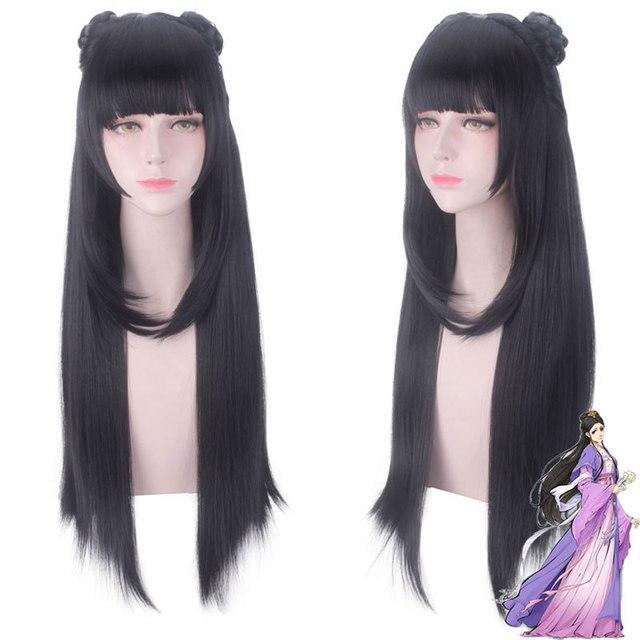 Mo dao zu shi anime jiang yanli cosplay peruca grandmaster do cultivo demoníaco halloween cosplay cabelo sintético