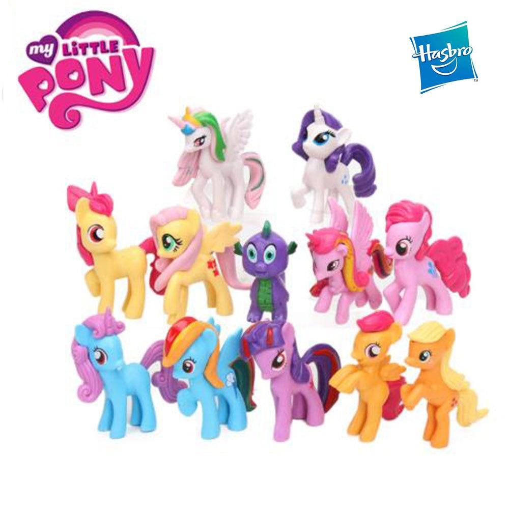Hasbro 12pcs My Little Pony Rainbow Unicorn Toys Mini Horse PVC Action Figures Twilight Sparkle Apple Jack Spike