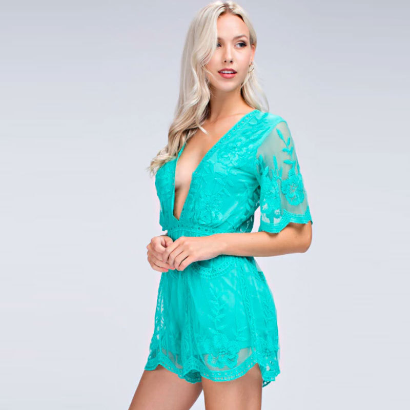 Hot selling on Amazon Womens Rompers Jumpsuit Sexy Women's Deep V-Neck Lace Romper Short Sleeve Hollow Lace  Playsuit Overalls