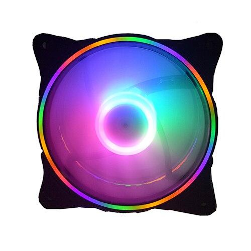12 моделей многоцветный RGB чехол с круговым охлаждением 2 кольца cpu светодиодный вентилятор 120 мм 12 см RGB светодиодный ring для компьютера кулер для воды радиатор - Цвет лезвия: new rainbow