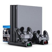 OIVO PS4/PS4 ince/PS4 Pro çift denetleyici şarj konsolu dikey soğutma standı şarj istasyonu 4 konektörü playstation 4