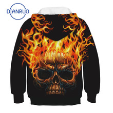 Boy Sweatshirts Hoodies Long-Sleeve Print LINLING Girls Kids Children's Skull P525 Flaming