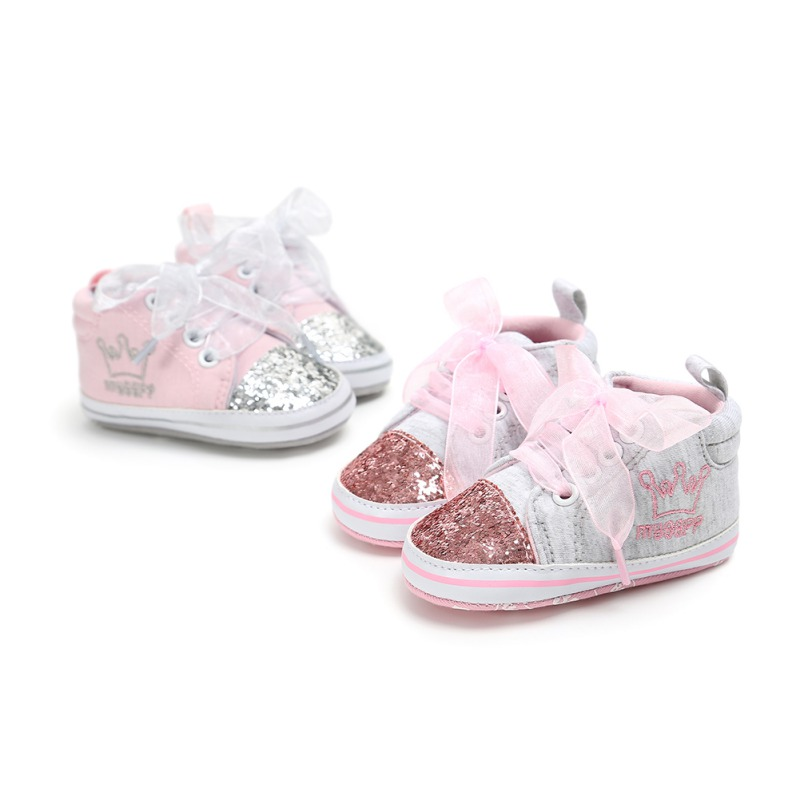 0-12M Kid Newborn Baby Girl Sequins Crib Shoes Toddler Soft Sole Anti Slip Shoes