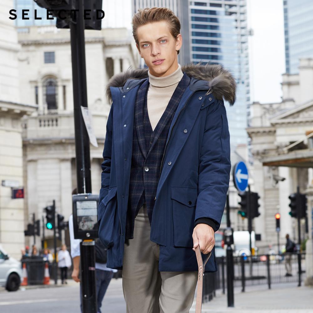 Отборная Мужская зимняя пуховая куртка с воротником из меха енота теплая длинная одежда большие карманы одежда пальто среднего стиля Зимний S | 418412535