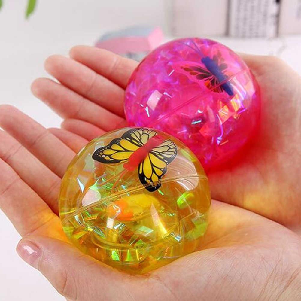 1 나비 탄성 공 플래시 튀는 공 장난감 리본 글로우 탄성 점프 공 어린이 야외 스포츠 재미 장난감 선물