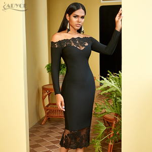 Image 3 - Adyce 2020 새로운 겨울 여성 블랙 붕대 드레스 섹시 슬래시 목 우아한 오프 어깨 레이스 뜨거운 연예인 파티 Bodycon 클럽 드레스