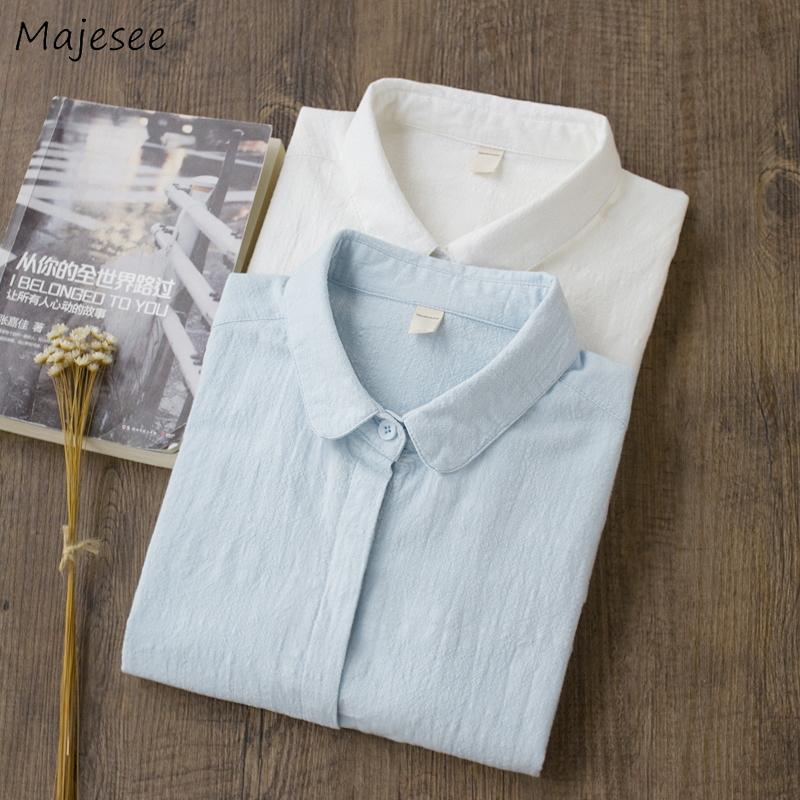 Women Shirts Cotton Plus Size Classic Womens Tops and Blouses All Match Harajuku Clothes Korean Fashion Casual White Blouse Soft