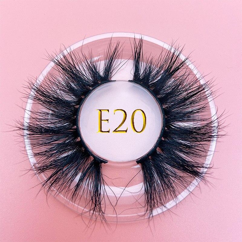 25mm Mikiwi 3D Mink Eyelash E20 Custom Soft Dramatic False Eyelashes Resuable REAL MINK Eyelashes Packaging Label Makeup Lashes