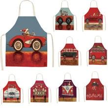 Cartoon Car Christmas Kitchen Children Apron Santa Claus Pattern Adult Women Men Dinner Party Cooking Apron Xmas Decoration цена