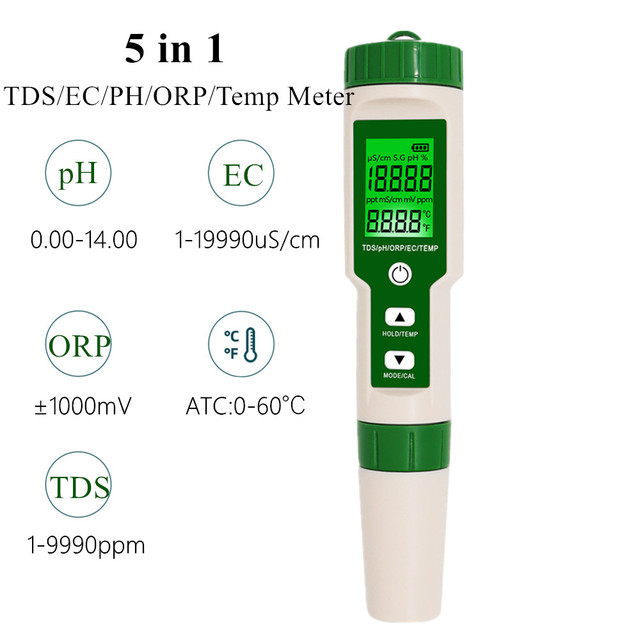 JuanJuan 5i1 arada: TDS/ EC/ ORP/ PH ve Sıcaklık ölçer 1