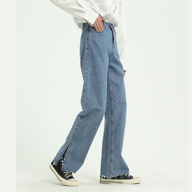Men Vintage Casual Classic Jeans Pants Male Retro High Street Hip Hop Split Straight Denim Trousers Japan Korea Style Pant