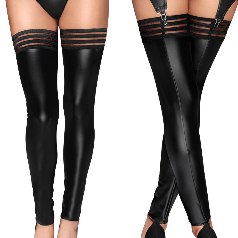 2019 Plus Size Women PU Leather Stockings Over Knee Socks Long Boot Thigh-High Stockings Black  Sexy Stocking Big Size XL XXL