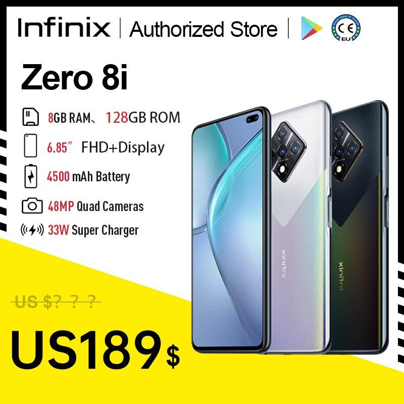 Infinix Zero 8i глобальная Версия 8 ГБ 128 4500 мА/ч, 33 Вт Зарядное устройство 6,85 ''FHD 90 Гц Full Экран 48MP Quad Camera Чехол для мобильного телефона