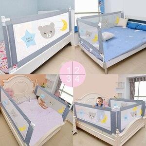 Image 4 - Kinderen Bed Barrière Hek Veiligheid Vangrail Security Opvouwbare Baby Thuis Kinderbox Op Bed Hekwerk Gate Wieg Verstelbare Kids Rails