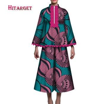2020 Hitarget summer African Women tops +skirt 2pcs set  Custom Women African Dashiki Skirt Set  Bazin Plus Size 5XL WY5044