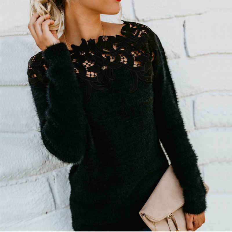 Sweaters Women Invierno 2019 Casual Sexy O-neck Long Black Blue Pink Lace Fall Woman Sweaters Pullovers