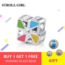 StrollGirl 925 Sterling Silver windmill Charms beads with colorful enamel Fit original Bracelet DIY Jewelry making women Gifts стоимость
