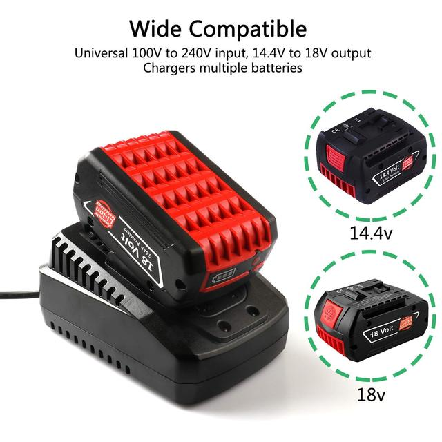 1.6A Battery Charger for Bosch 14.4V 18V Lithium ion Batteries Fast Power Supply Charger Al1860CV Al1814CV Al1820CV Replacement