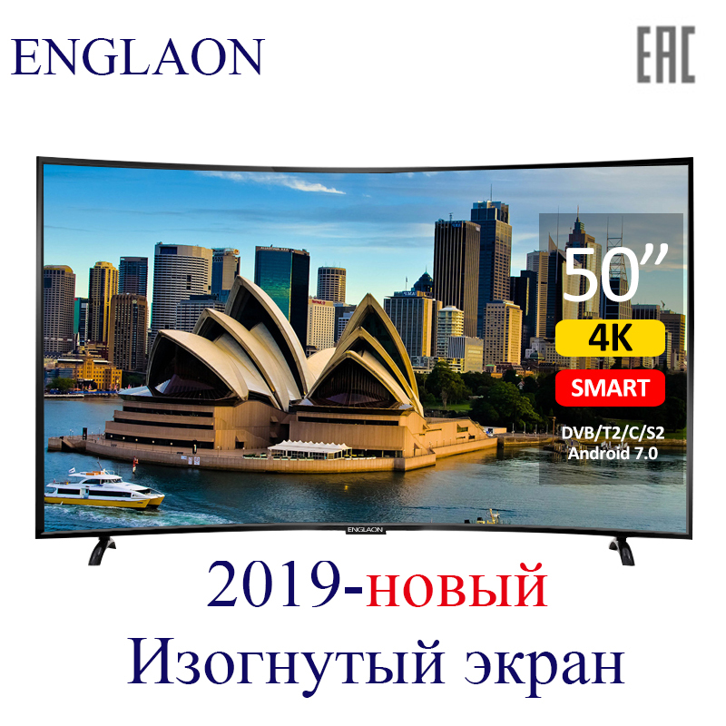ENGLAON LED Television TV Curved-Tv Digital-Tv Smart-Tv 50'-Inch Android-7.0 4K UHD 49-Tvs