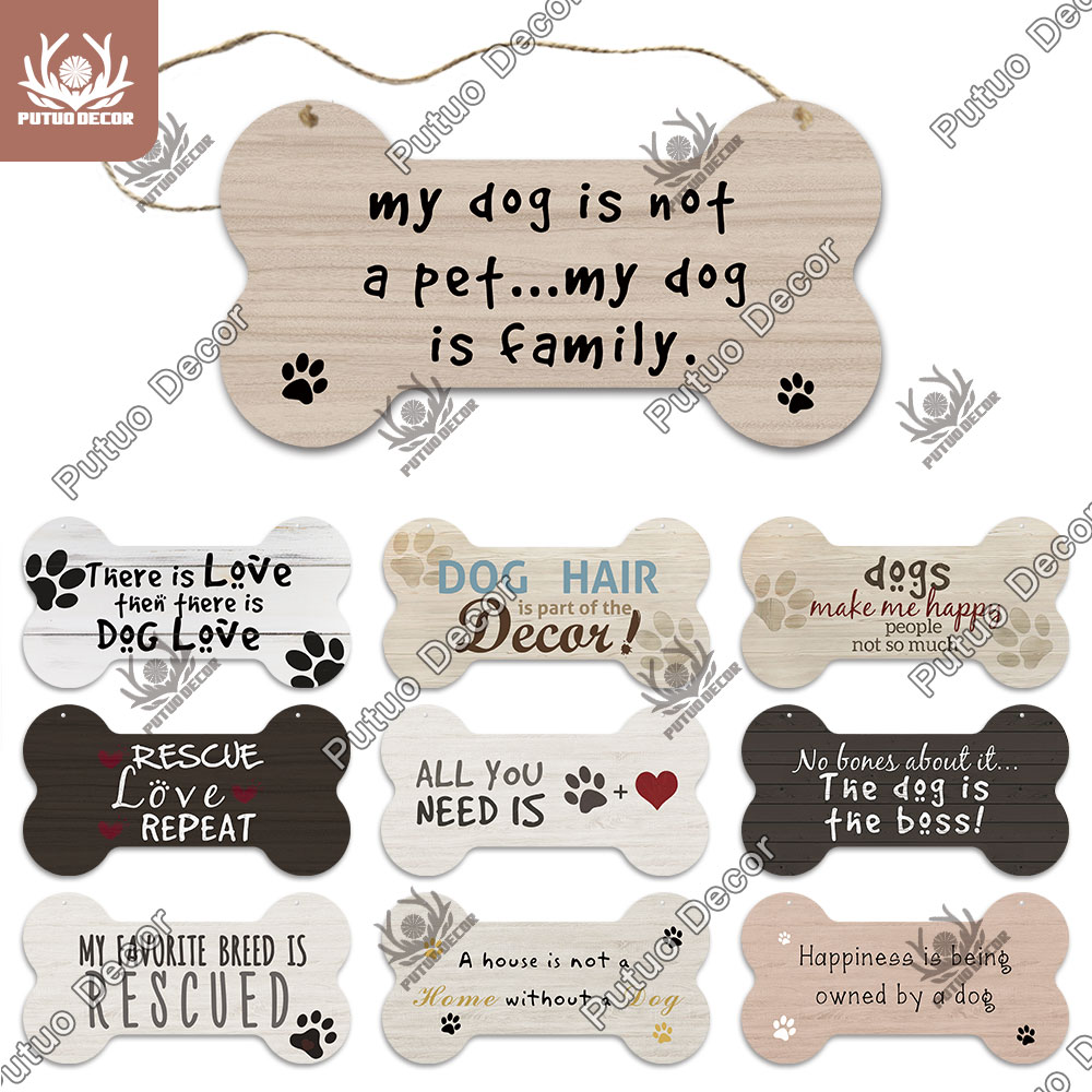 Putuo Decor Bone Sign Dog Plaque Wood Lovely Friendship Wooden Pendant Plaque Wood For Wooden Hanging Dog House Decoration Plaques Signs Aliexpress