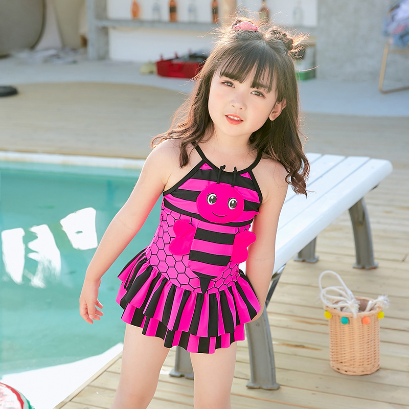South Korea 2019 CHILDREN'S Swimsuit Cute Bees Infants Skirt Baby-One-piece Women's Cartoon Medium-small Children Swimming Suit