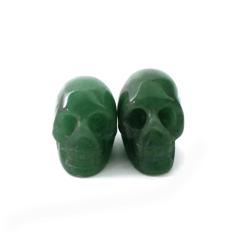 """1""""Natural Stone Skull Figurine Crystal Hand Carved Statue Realistic Feng Shui Healing Home Decor Art Collectible"""